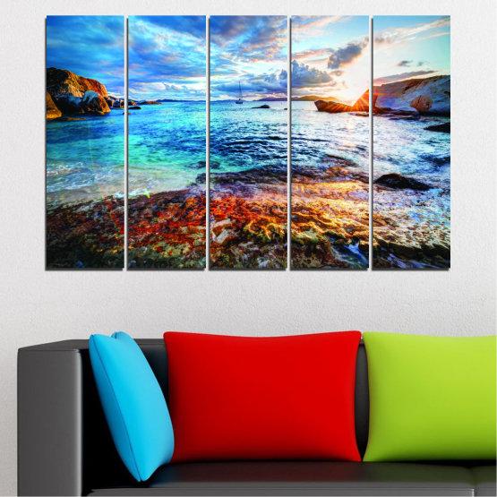 Canvas prints & wall decorative panels - 5 pieces №0244 » Turquoise, Black, Gray, Dark grey » Water, Sea, Sunrise, Bay, Seaside Form #2