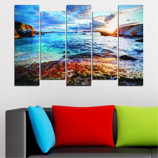 Canvas prints & wall decorative panels - 5 pieces №0244 » Turquoise, Black, Gray, Dark grey » Water, Sea, Sunrise, Bay, Seaside Form #3