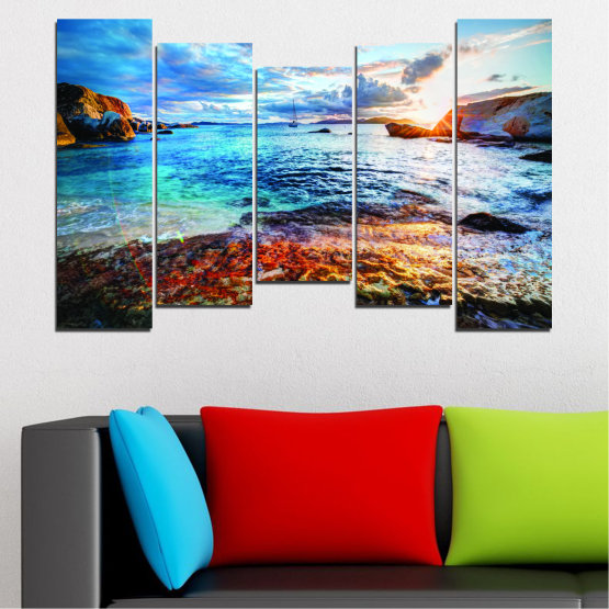 Canvas prints & wall decorative panels - 5 pieces №0244 » Turquoise, Black, Gray, Dark grey » Sea, Water, Sunrise, Bay, Seaside Form #4