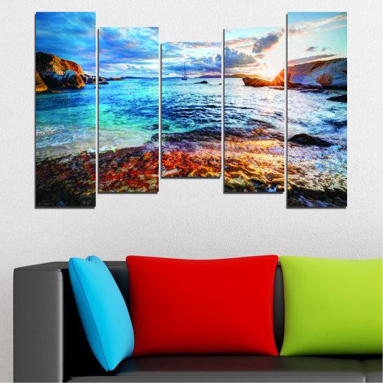 Canvas prints & wall decorative panels - 5 pieces №0244 » Turquoise, Black, Gray, Dark grey » Water, Sea, Sunrise, Bay, Seaside Form #4