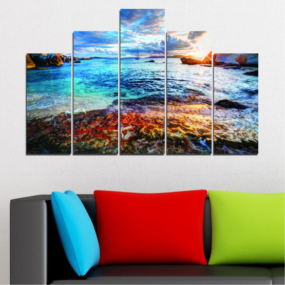 Canvas prints & wall decorative panels - 5 pieces №0244 » Turquoise, Black, Gray, Dark grey » Sea, Water, Sunrise, Bay, Seaside Form #5