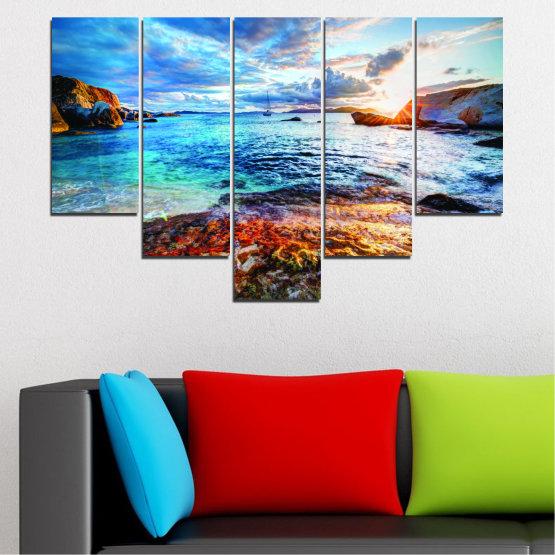 Canvas prints & wall decorative panels - 5 pieces №0244 » Turquoise, Black, Gray, Dark grey » Water, Sea, Sunrise, Bay, Seaside Form #6