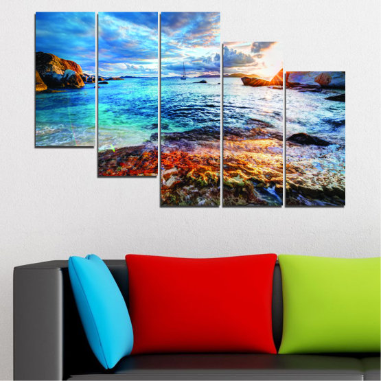 Canvas prints & wall decorative panels - 5 pieces №0244 » Turquoise, Black, Gray, Dark grey » Sea, Water, Sunrise, Bay, Seaside Form #7