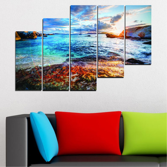Canvas prints & wall decorative panels - 5 pieces №0244 » Turquoise, Black, Gray, Dark grey » Sea, Water, Sunrise, Bay, Seaside Form #8