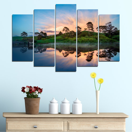 Canvas prints & wall decorative panels - 5 pieces №0245 » Blue, Turquoise, Black, Beige, Dark grey » Water, Reflection, River Form #1
