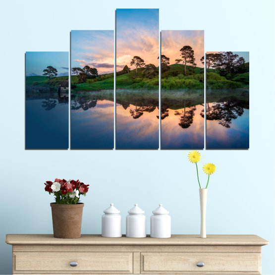 Canvas prints & wall decorative panels - 5 pieces №0245 » Blue, Turquoise, Black, Beige, Dark grey » Water, Reflection, River Form #5