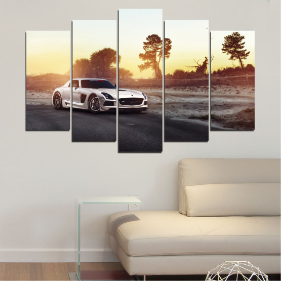 Canvas prints & wall decorative panels - 5 pieces №0246 » Brown, Black, White, Beige, Dark grey » Car, Vehicle, Road Form #1