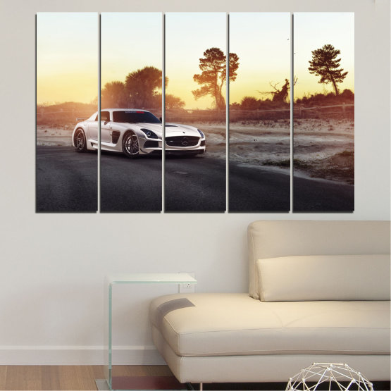 Canvas prints & wall decorative panels - 5 pieces №0246 » Brown, Black, White, Beige, Dark grey » Car, Vehicle, Road Form #2