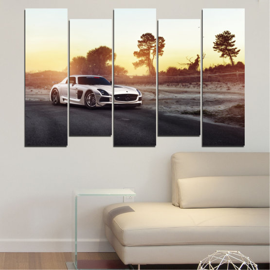 Canvas prints & wall decorative panels - 5 pieces №0246 » Brown, Black, White, Beige, Dark grey » Car, Vehicle, Road Form #3