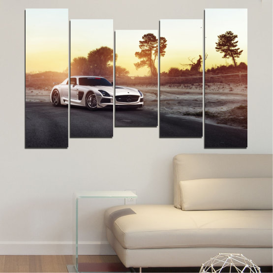 Canvas prints & wall decorative panels - 5 pieces №0246 » Brown, Black, White, Beige, Dark grey » Car, Vehicle, Road Form #4