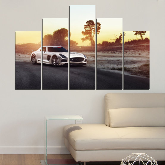 Canvas prints & wall decorative panels - 5 pieces №0246 » Brown, Black, White, Beige, Dark grey » Car, Vehicle, Road Form #5