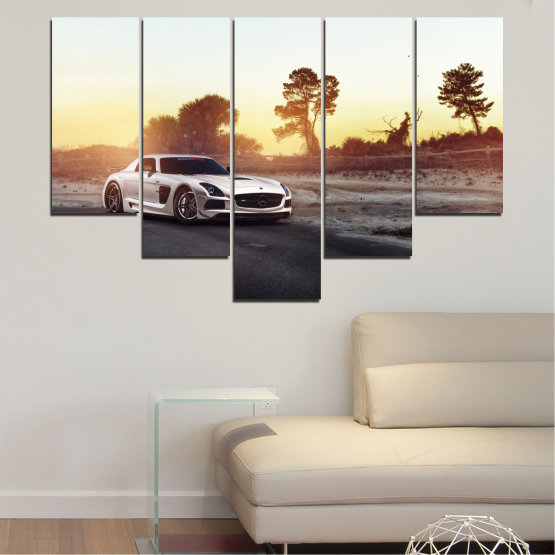 Canvas prints & wall decorative panels - 5 pieces №0246 » Brown, Black, White, Beige, Dark grey » Car, Vehicle, Road Form #6