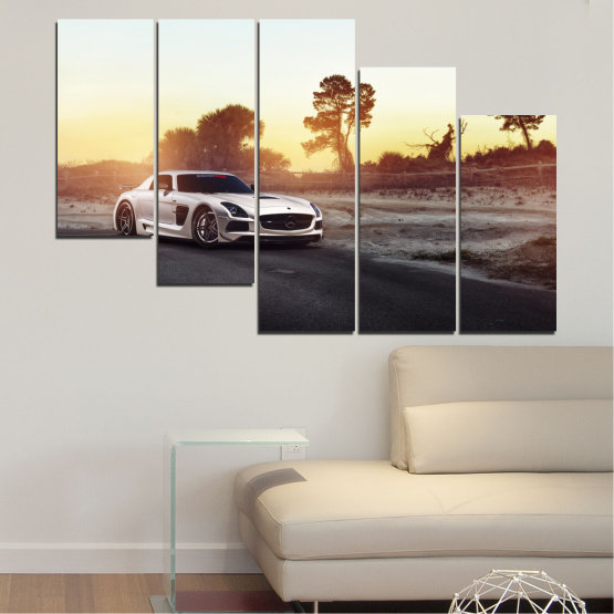 Canvas prints & wall decorative panels - 5 pieces №0246 » Brown, Black, White, Beige, Dark grey » Car, Vehicle, Road Form #7