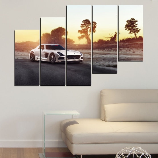Canvas prints & wall decorative panels - 5 pieces №0246 » Brown, Black, White, Beige, Dark grey » Car, Vehicle, Road Form #8