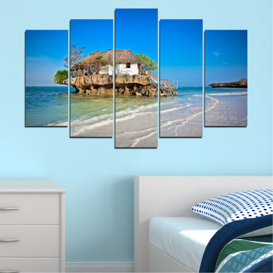 Canvas prints & wall decorative panels - 5 pieces №0247 » Blue, Turquoise, Gray » Water, Beach, Island, Seaside, House Form #1