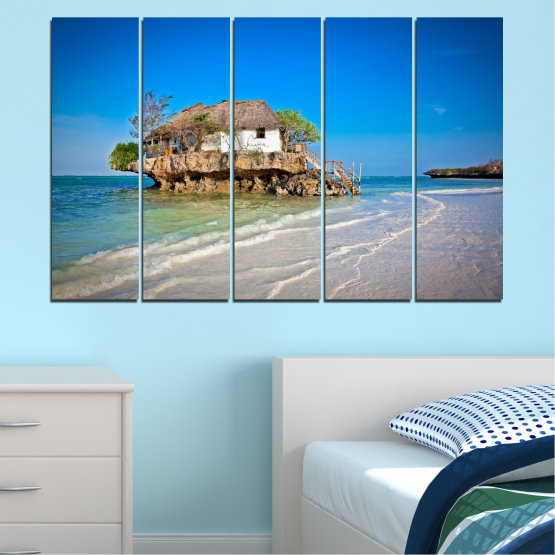 Canvas prints & wall decorative panels - 5 pieces №0247 » Blue, Turquoise, Gray » Water, Beach, Island, Seaside, House Form #2