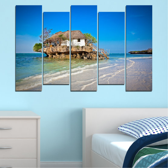 Canvas prints & wall decorative panels - 5 pieces №0247 » Blue, Turquoise, Gray » Water, Beach, Island, Seaside, House Form #3
