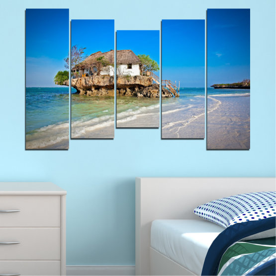 Canvas prints & wall decorative panels - 5 pieces №0247 » Blue, Turquoise, Gray » Water, Beach, Island, Seaside, House Form #4