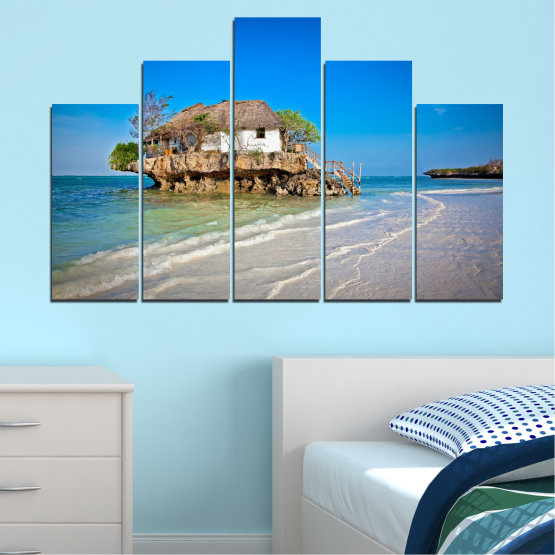 Canvas prints & wall decorative panels - 5 pieces №0247 » Blue, Turquoise, Gray » Water, Beach, Island, Seaside, House Form #5