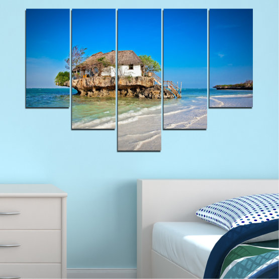 Canvas prints & wall decorative panels - 5 pieces №0247 » Blue, Turquoise, Gray » Water, Beach, Island, Seaside, House Form #6