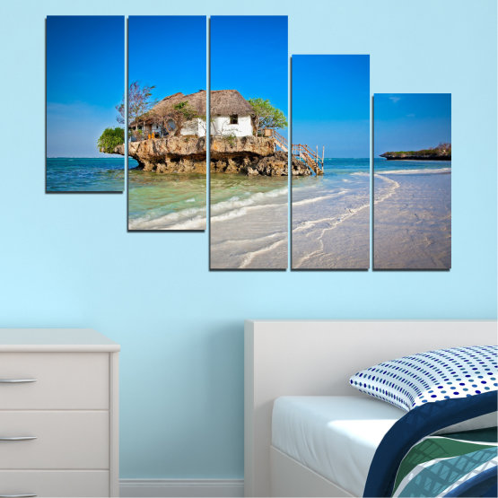 Canvas prints & wall decorative panels - 5 pieces №0247 » Blue, Turquoise, Gray » Water, Beach, Island, Seaside, House Form #7