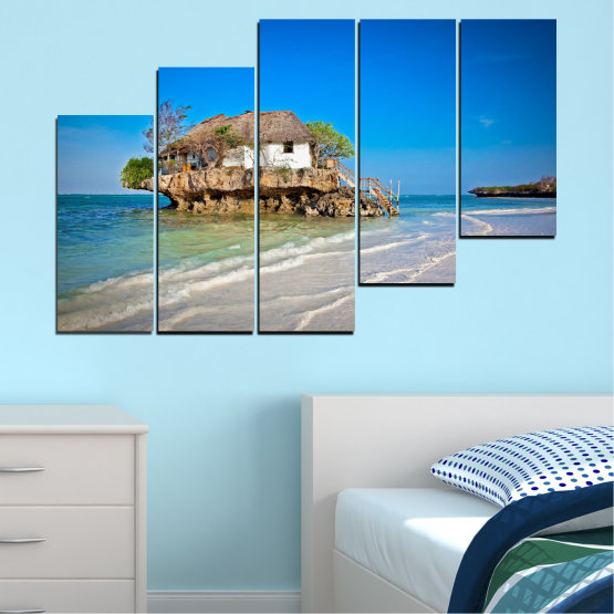 Canvas prints & wall decorative panels - 5 pieces №0247 » Blue, Turquoise, Gray » Water, Beach, Island, Seaside, House Form #8