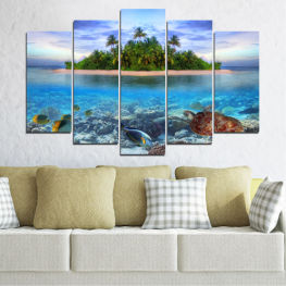 Landscape, Nature, Water, Beach, Island, Turtle » Blue, Turquoise, Gray, Dark grey