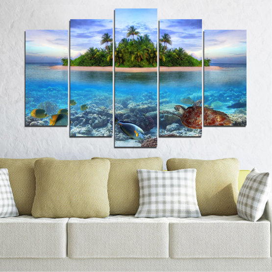 Canvas prints & wall decorative panels - 5 pieces №0248 » Blue, Turquoise, Gray, Dark grey » Nature, Landscape, Water, Beach, Island, Turtle Form #1