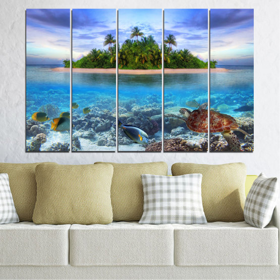 Canvas prints & wall decorative panels - 5 pieces №0248 » Blue, Turquoise, Gray, Dark grey » Nature, Landscape, Water, Beach, Island, Turtle Form #2