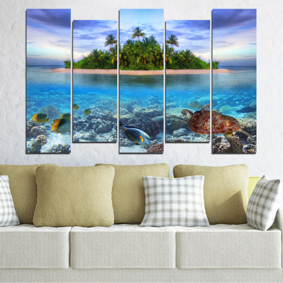 Canvas prints & wall decorative panels - 5 pieces №0248 » Blue, Turquoise, Gray, Dark grey » Nature, Landscape, Water, Beach, Island, Turtle Form #3