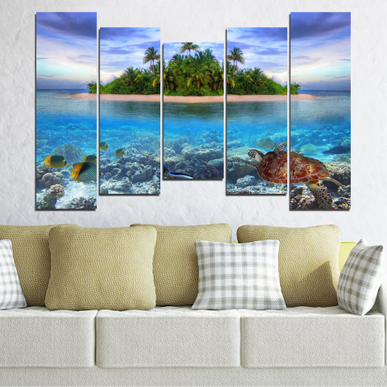 Canvas prints & wall decorative panels - 5 pieces №0248 » Blue, Turquoise, Gray, Dark grey » Nature, Landscape, Water, Beach, Island, Turtle Form #4