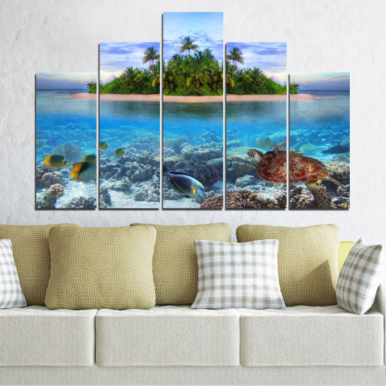 Canvas prints & wall decorative panels - 5 pieces №0248 » Blue, Turquoise, Gray, Dark grey » Nature, Landscape, Water, Beach, Island, Turtle Form #5