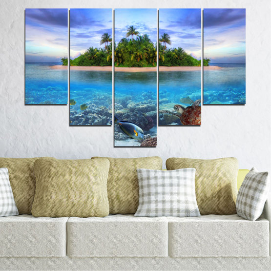 Canvas prints & wall decorative panels - 5 pieces №0248 » Blue, Turquoise, Gray, Dark grey » Nature, Landscape, Water, Beach, Island, Turtle Form #6