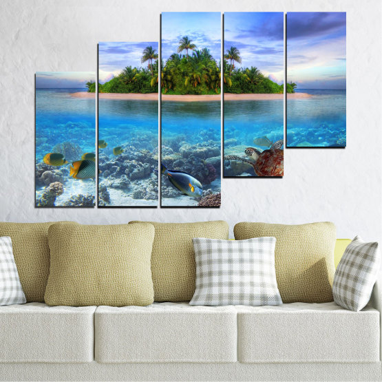 Canvas prints & wall decorative panels - 5 pieces №0248 » Blue, Turquoise, Gray, Dark grey » Nature, Landscape, Water, Beach, Island, Turtle Form #8