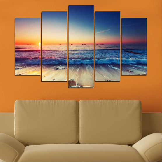 Canvas prints & wall decorative panels - 5 pieces №0249 » Blue, Black, Gray, Beige, Dark grey » Landscape, Sea, Sunset, Beach, Seaside, Wave Form #1