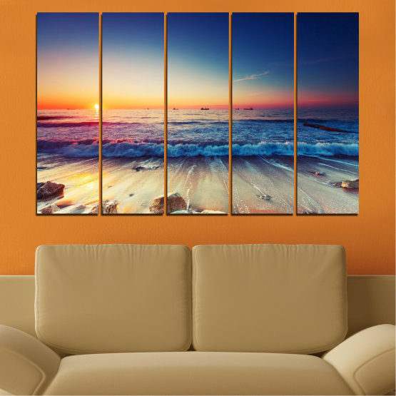 Canvas prints & wall decorative panels - 5 pieces №0249 » Blue, Black, Gray, Beige, Dark grey » Landscape, Sea, Sunset, Beach, Seaside, Wave Form #2