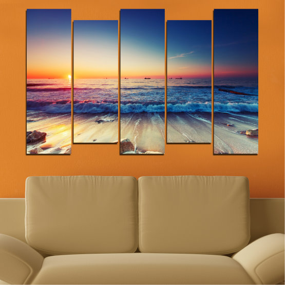 Canvas prints & wall decorative panels - 5 pieces №0249 » Blue, Black, Gray, Beige, Dark grey » Landscape, Sea, Sunset, Beach, Seaside, Wave Form #3