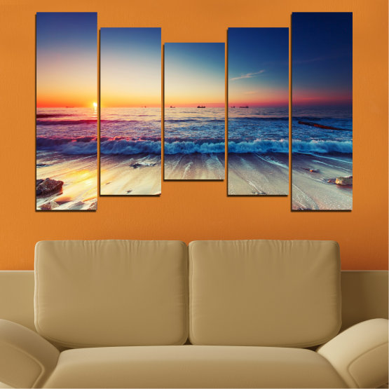 Canvas prints & wall decorative panels - 5 pieces №0249 » Blue, Black, Gray, Beige, Dark grey » Landscape, Sea, Sunset, Beach, Seaside, Wave Form #4