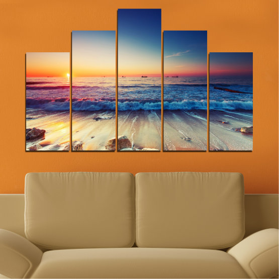 Canvas prints & wall decorative panels - 5 pieces №0249 » Blue, Black, Gray, Beige, Dark grey » Landscape, Sea, Sunset, Beach, Seaside, Wave Form #5