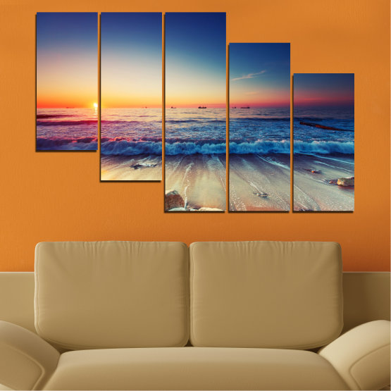 Canvas prints & wall decorative panels - 5 pieces №0249 » Blue, Black, Gray, Beige, Dark grey » Landscape, Sea, Sunset, Beach, Seaside, Wave Form #7
