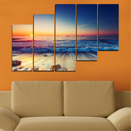 Canvas prints & wall decorative panels - 5 pieces №0249 » Blue, Black, Gray, Beige, Dark grey » Landscape, Sea, Sunset, Beach, Seaside, Wave Form #8