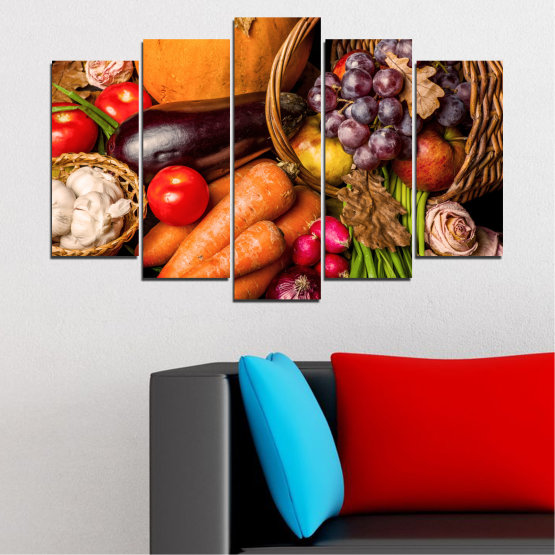 Canvas prints & wall decorative panels - 5 pieces №0025 » Orange, Brown, Black, Beige » Still life, Culinary, Autumn, Vegetables Form #1