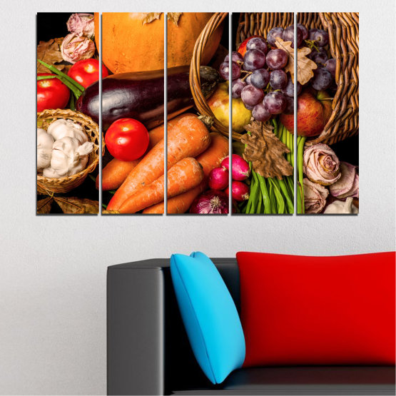 Canvas prints & wall decorative panels - 5 pieces №0025 » Orange, Brown, Black, Beige » Still life, Culinary, Autumn, Vegetables Form #2