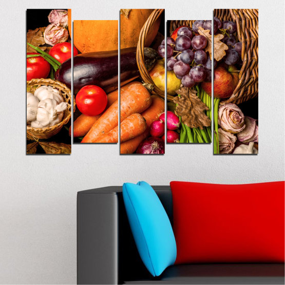 Canvas prints & wall decorative panels - 5 pieces №0025 » Orange, Brown, Black, Beige » Still life, Culinary, Autumn, Vegetables Form #3