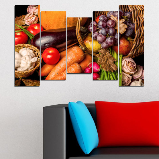 Canvas prints & wall decorative panels - 5 pieces №0025 » Orange, Brown, Black, Beige » Still life, Culinary, Autumn, Vegetables Form #4