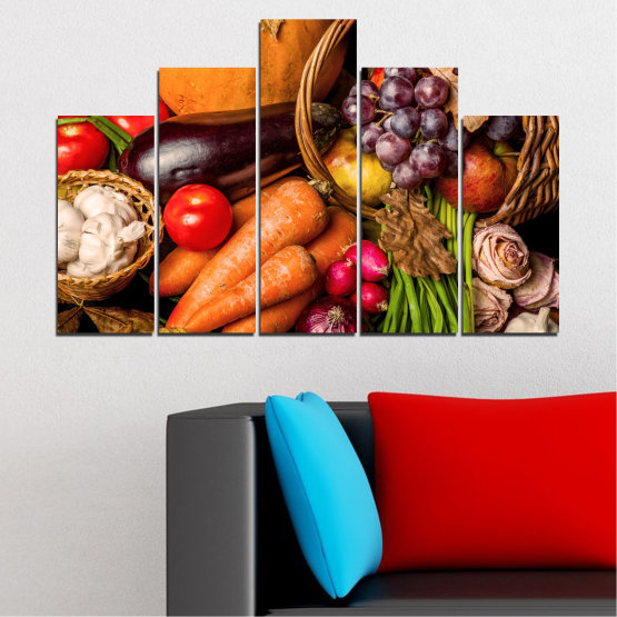 Canvas prints & wall decorative panels - 5 pieces №0025 » Orange, Brown, Black, Beige » Still life, Culinary, Autumn, Vegetables Form #5