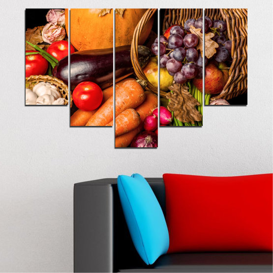 Canvas prints & wall decorative panels - 5 pieces №0025 » Orange, Brown, Black, Beige » Still life, Culinary, Autumn, Vegetables Form #6