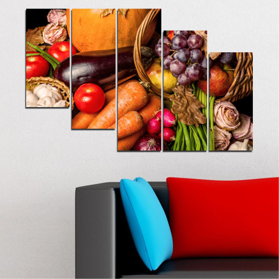 Canvas prints & wall decorative panels - 5 pieces №0025 » Orange, Brown, Black, Beige » Still life, Culinary, Autumn, Vegetables Form #7