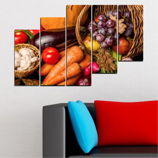 Canvas prints & wall decorative panels - 5 pieces №0025 » Orange, Brown, Black, Beige » Still life, Culinary, Autumn, Vegetables Form #8