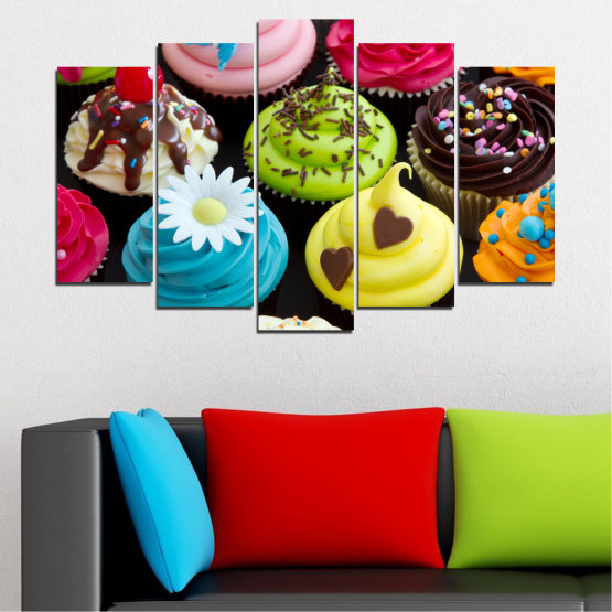 Canvas prints & wall decorative panels - 5 pieces №0250 » Blue, Green, Brown, Black, Beige » Culinary, Colorful, Pastry Form #1